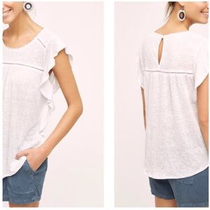 "Anthropologie Deletta ""Ina"" Linen Flutter Top"